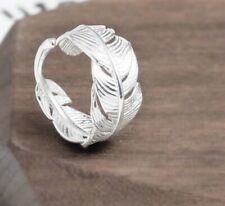 925 Sterling Silver Feather Wrap Around  Adjustable Ring Thumb Finger Angel