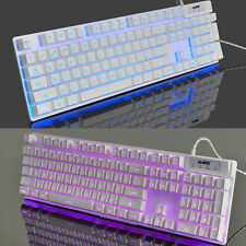 White Crystal Ajazz Cyborg Soldier 3 LEDS Backlit Ergonomic Usb Gaming Keyboard