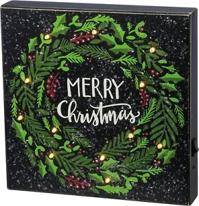 "MERRY CHRISTMAS Wreath LED Box Sign, 10"" x 10"", Primitives by Kathy"