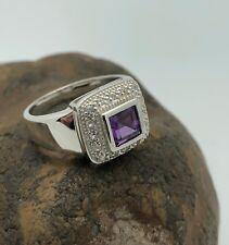 GENUINE AMETHYST & WITE TOPAZ  RING set in .925 STERLING SILVER  FREE SHIPPING