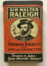 Vintage Sir Walter Raleigh Tobacco Tin Union Made Stamp 1-5/8 oz. Tax Paid Stamp