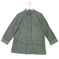 Eddie bauer long sleeve cargo jacket olive green size large cotton stretch blend