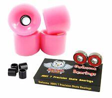 Blank 70mm 82a Neon Pink Longboard Wheels + Owlsome Precison ABEC 7 Bearings