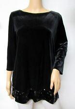 Chico's Black Velvet 3/4 Sleeve Sequin Hem Tunic Top Size 3 XL