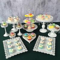 9 Set Crystal Cake Holder Cupcake Stand Cake Dessert Holder White Color Metal uS