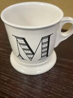 Anthropologie M Monogram Mug Initial Letter Coffee Cup Shaving Stoneware