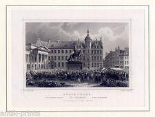 Düsseldorf - Marktplatz - Stahlstich Poppel 1840