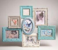 Multi 7 Photo Frame Collage Wood Shabby Chic Blue Cream Delilah Sass & Belle