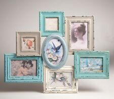 Multi 7 Photo Frame Collage Wood Shabby Chic Blue Cream Delilah Sass & Belle
