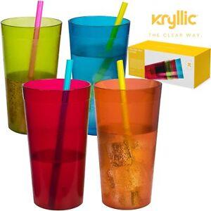 Set of 4 Plastic Cups Break Resistant Tumbler Glasses Assorted Acrylic Tumblers