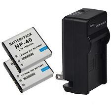 For Casio EX-Z30/Z40/Z50/Z55/Z57/Z750 EX-P505 2x 1500mAh NP-40 Battery + Charger