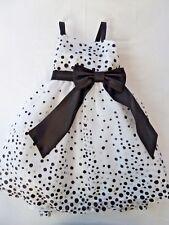 Sweet Kids Black, Silver,White Polka dot 3 layer tule dress w/2 bows s:2t