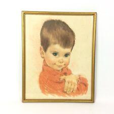 Pastel Portait Green Eyed Boy Brunette Crossed Arms Orange Shirt Framed Vtg