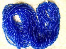 Vtg HANK TRANSPARENT BLUE CHARLOTTE GLASS SEED BEADS 11/0 CZECH #062112d