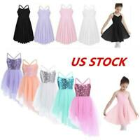US Girls Sequins Ballet Dance Dress Kids Leotards Tutu Skirts Skating Dancewear