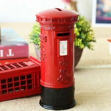 Vintage London Red Mailbox Piggy Bank Metal Red Money Coin Saving Box Home Gift