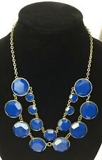 Gold Colored Chain Faceted Blue Bead Necklace Costume Jewelry