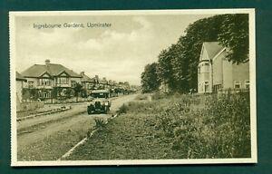 UPMINSTER,INGREBOURNE GARDENS WITH MOTOR CAR XO 906,vintage postcard