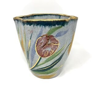 Italian Hand Painted Floral Ceramic Vase Flaw