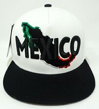 MEXICO Snapback Cap Hat Mexican Flag Map White Black Adult OSFM NWT