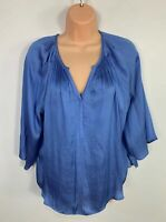 WOMENS MARKS&SPENCER SIZE UK 12 BLUE SHORT SLEEVE FLOATY CASUAL BLOUSE SHIRT TOP