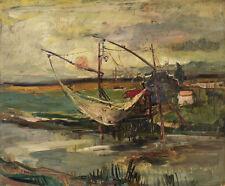 HERRMANN STEININGER (1915) Flusslandschaft mit Fischernetz.