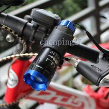 Blue Head Bike Bicycle Front Light CREE Q5 Flashlight 240 Lumens Torch + Clip
