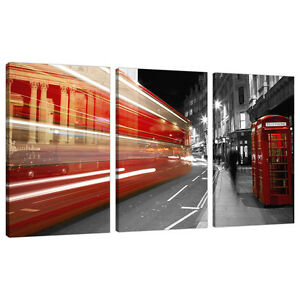 Set of 3 Black White Red Canvas Prints Pictures London Bus Cities 3127