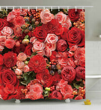 Pink & Red Roses SHOWER CURTAIN 70x70 Fabric w/Hooks Flower Floral