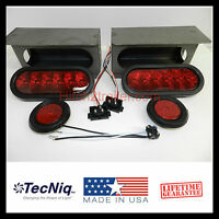 "6"" Oval RED LED Trailer Truck Steel Tail Light Guard Box KIT w/marker lights USA"