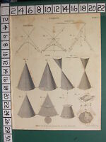 1808 Datato Antico Stampa ~Conics~ Forme Diagrammi Cono Asymtote Ambigenal