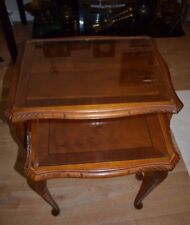 Antique Vintage Mahogany Wooden Nest 2 Glass Top Coffee Tables Queen Side Phone