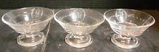 """Vintage Set of (3) Pattern Glass Pedestal Parfait Dishes 2.25"""" x 3.83"""" Excellent"""