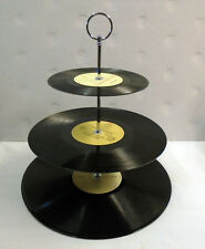 Vinyl record 3 tier cake stand - CREAM centres - Wedding Birthday party tea time