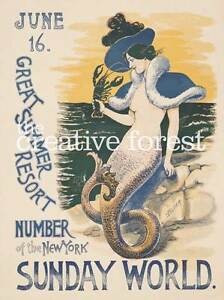 Mermaid of Summer Vintage Travel Poster Rolled Canvas Giclee Print 24x30 in.