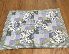 1 Vintage Quilted Pillow Sham Shabby Chic Style  Farmhouse 20x26 Purple Green