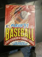 FLEER 1991 BASEBALL CARDS & Stickers 36 FACTORY SEALED PACKS - UNOPENED Wax Box
