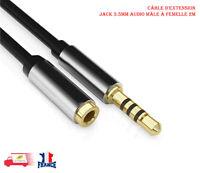 3.5mm Jack mâle À 3.5mm Femelle Câble D'extension Aux Câble Audio Casque 2M 4pin