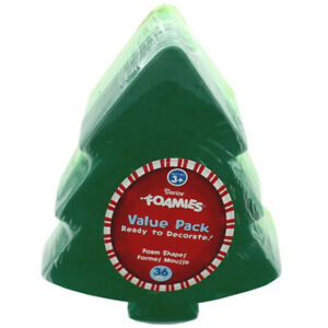 Foamies Christmas Tree Foam Shapes in 3 Green Shades - 6.27 x 8.18 inches, 36pc