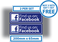 2 x Find us on Facebook Stickers Shop Window Taxi Van Media Advertising Blue