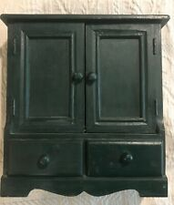Simple Dark Green Wooden Doll Wardrobe Cabinet for Doll Houses or Play sets #B1