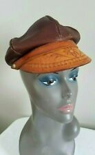 Antique Vintage Leather News Boy Boho Driver Hat Tooled Leather Brim ~ Mexico
