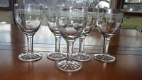 Clear etched Glass Cordial Liqueur Sherry Wine Glasses Dot Circle Design 5 4oz