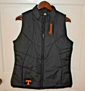 adidas TENNESSEE VOLS Large Women's 3-Stripe Full Zip Puffer Vest Black Orange
