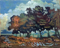 """Abstract Landscape Cloud Trees Oil Painting Original Signed 16""""x20"""" Canvas"""