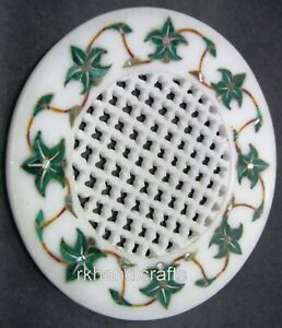 05 Inches Round Soap Dish White Marble Soap Holder with Intricate Work for Home