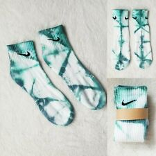 Nike Custom Tie Dye Socks SHIBORI Deep AQUA Green COTTON ankle
