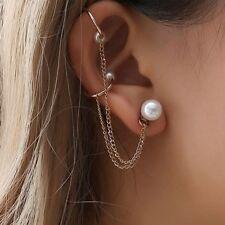Punk Style Long Chain Tassel Dangle Ear Cuff Wrap Cold Color Women Earrings 1PC