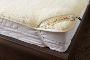 AUSTRALIAN MERINO WOOL & COTTON Mattress Topper Bed Sheet REVERSIBLE All Seasons