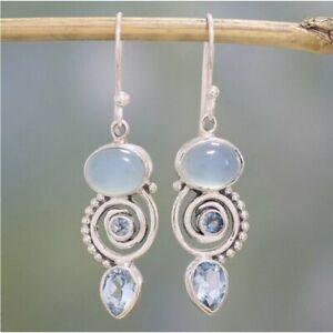 925 Silver Retro Turquoise Drop Dangle Earrings Women Ear Hook Wedding Jewelry
